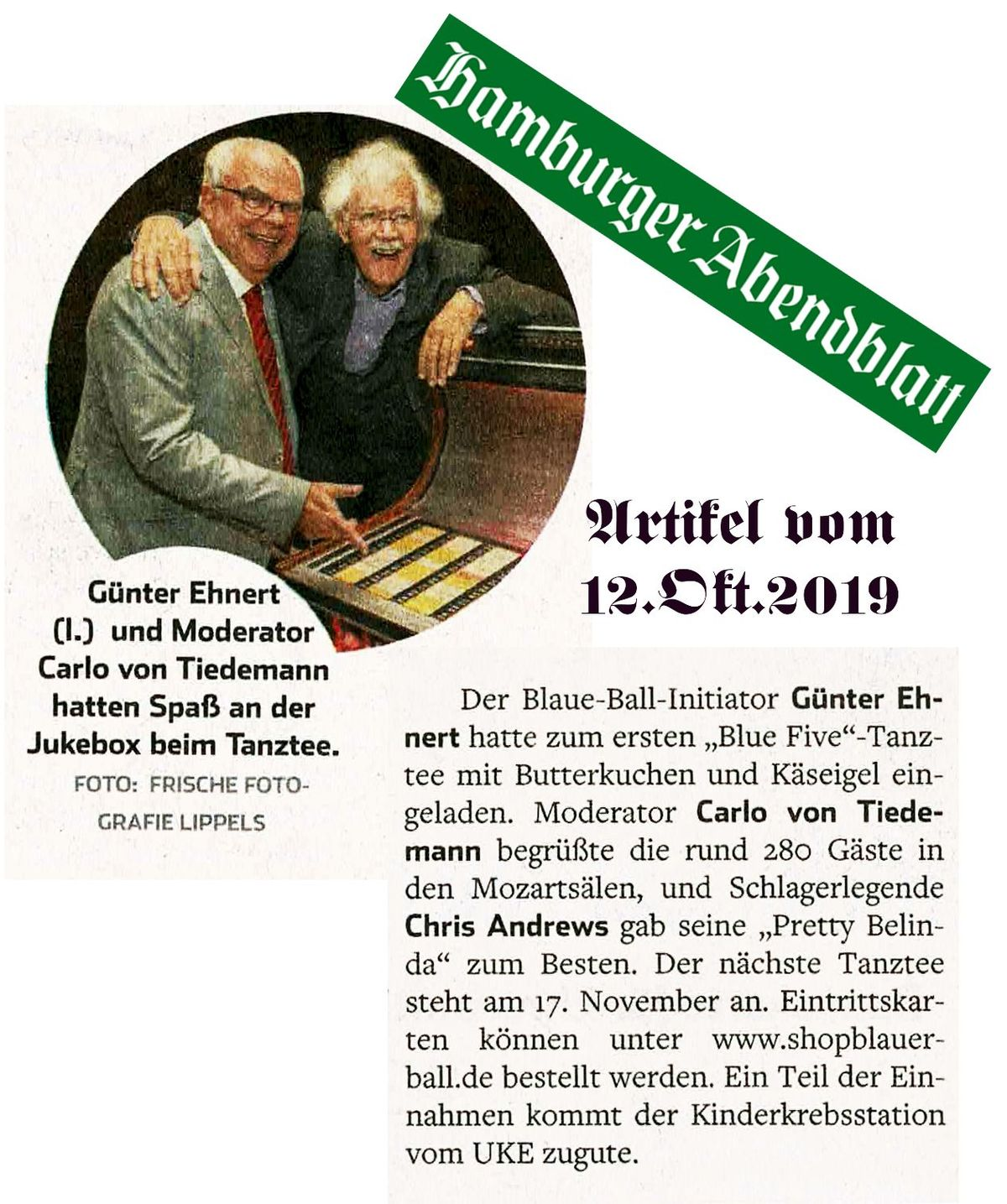 Hamburger Abendblatt, Artikel Blue Five 2019 vom 12.10.19